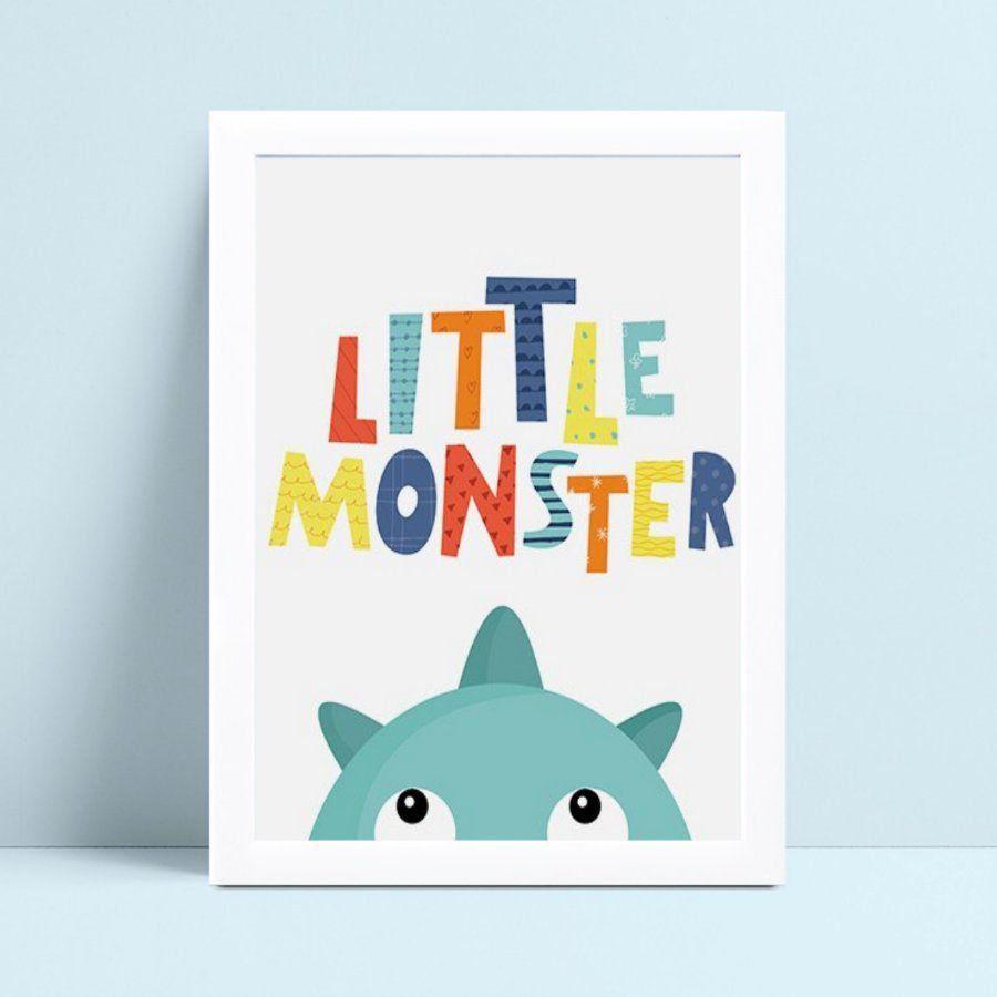 Quadro infantil decoração menino monstro azul espiando