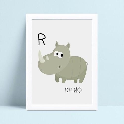 Quadro infantil decoração menino rinoceronte cinza