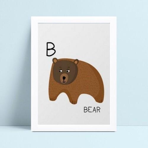 Quadro infantil decoração menino urso marrom