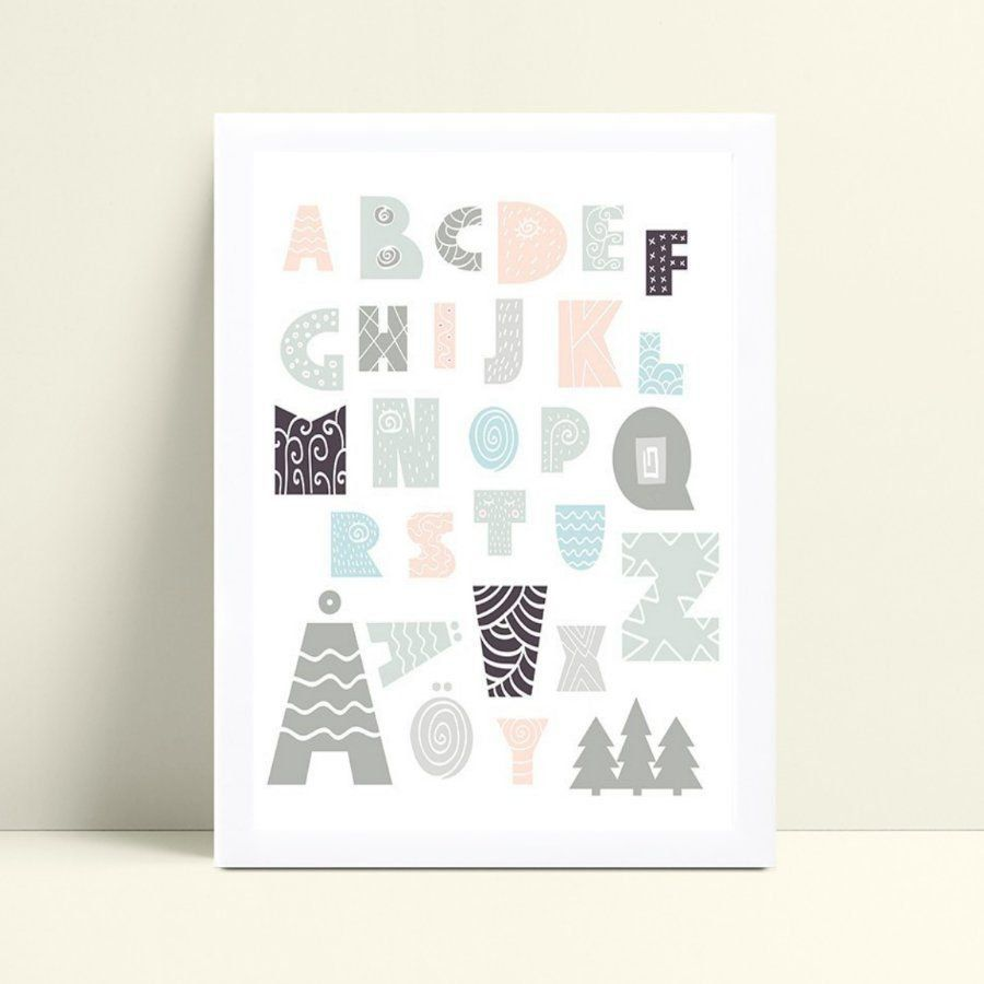 Quadro infantil decoração quarto alfabeto tribal colorido