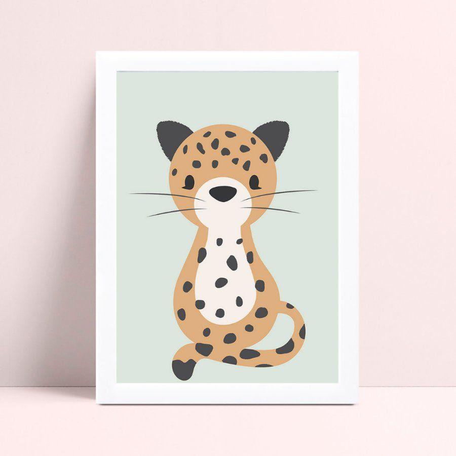 Quadro infantil decoração quarto animal jaguar safári