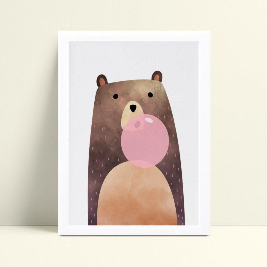 Quadro infantil decoração quarto animal urso bola chiclete