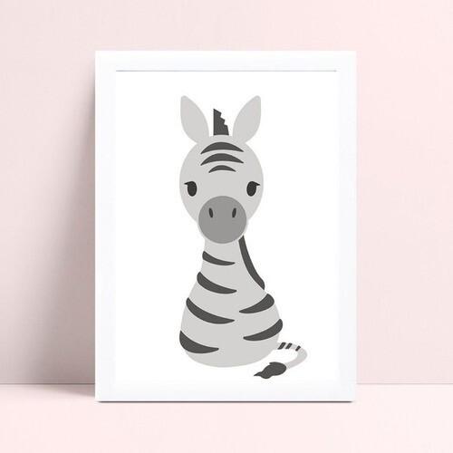 Quadro infantil decoração quarto animal zebra
