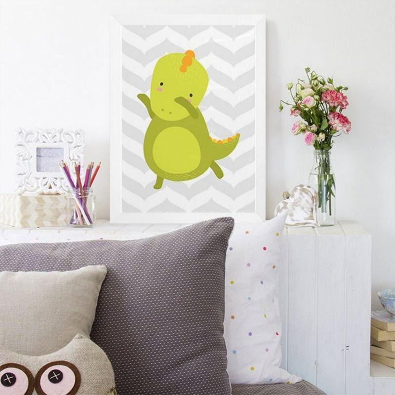 Quadro infantil decoração quarto bebê dinossauro