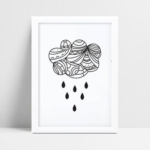 Quadro infantil decoração quarto chuva nuvem tribal p&b