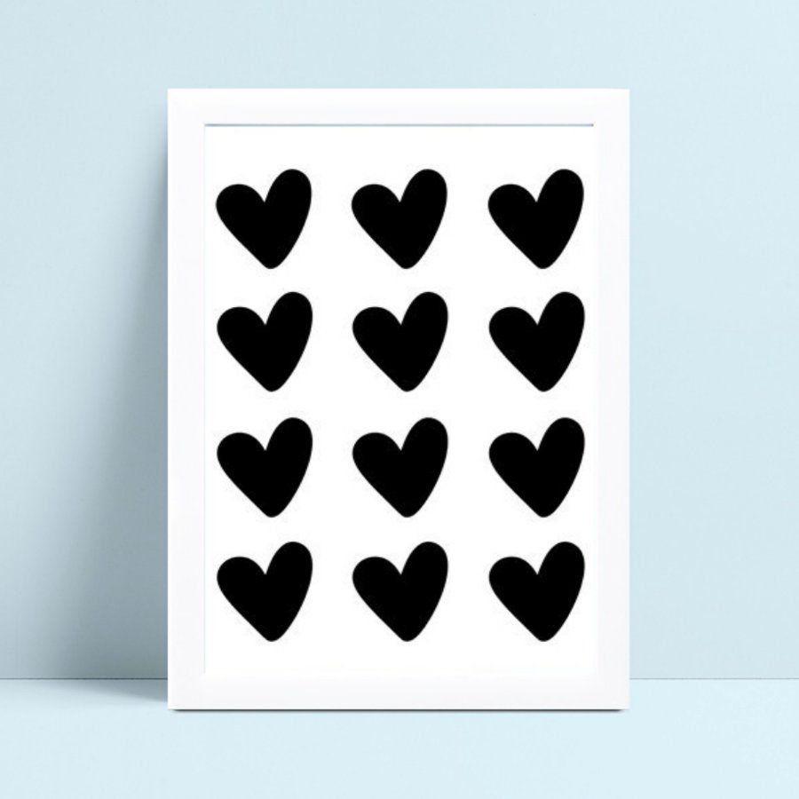 Quadro infantil decoração quarto corações preto
