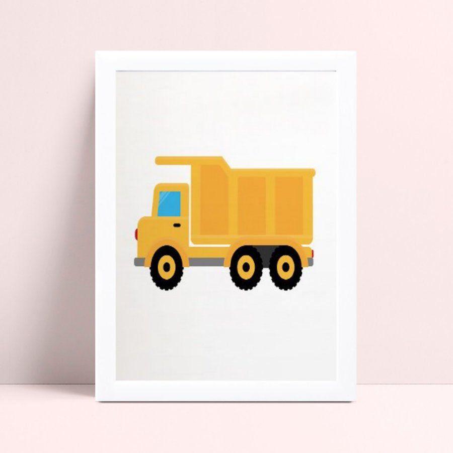 Quadro infantil decoração quarto desenho caminhão