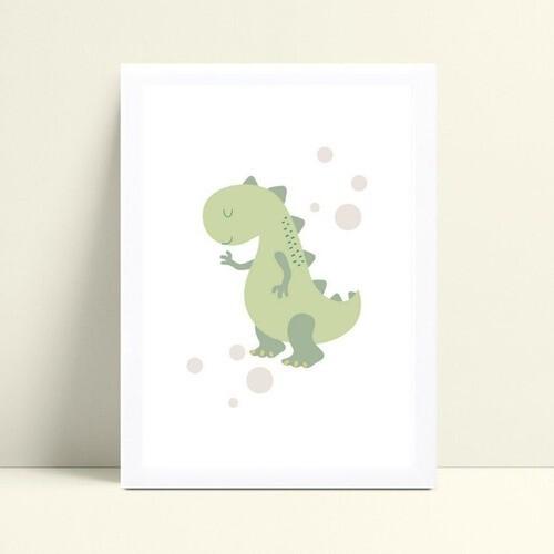 Quadro infantil decoração quarto desenho dinossauro