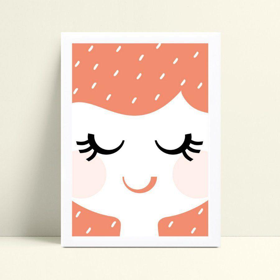 Quadro infantil decoração quarto desenho face rosto menina