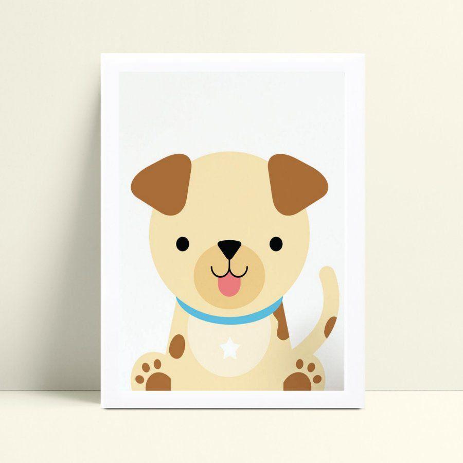 Quadro infantil decoração quarto desenho filhote cachorro