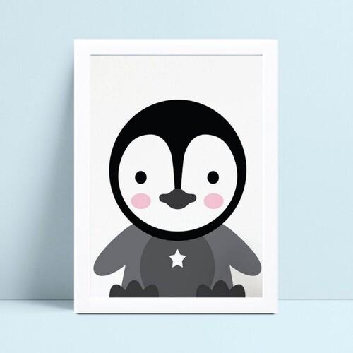 Quadro infantil decoração quarto desenho filhote pinguim