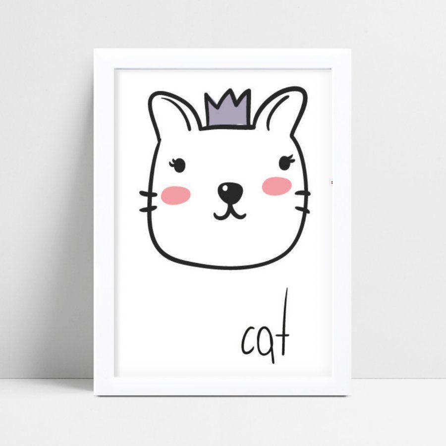 Quadro infantil decoração quarto desenho gato coroa roxa