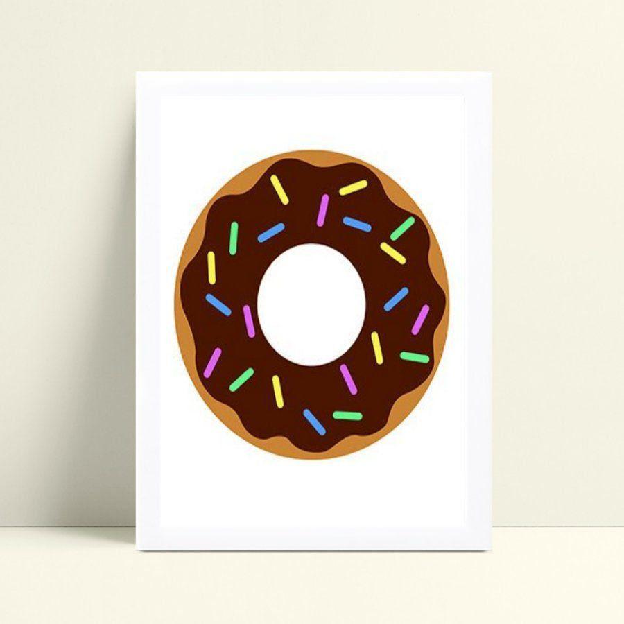 Quadro infantil decoração quarto donuts chocolate
