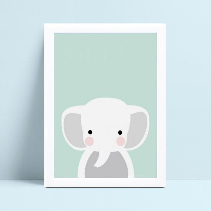 Quadro infantil decoração quarto elefante branco