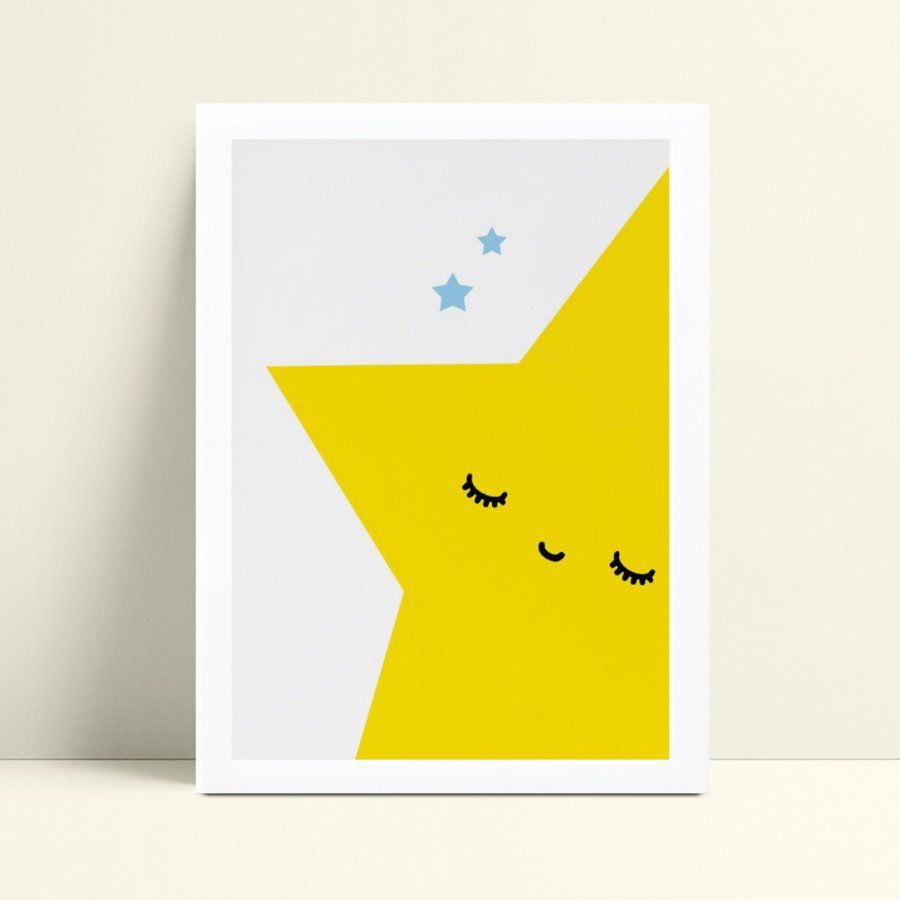 Quadro infantil decoração quarto estrela amarela