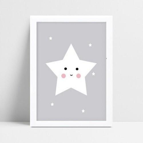 Quadro infantil decoração quarto estrela branca e cinza