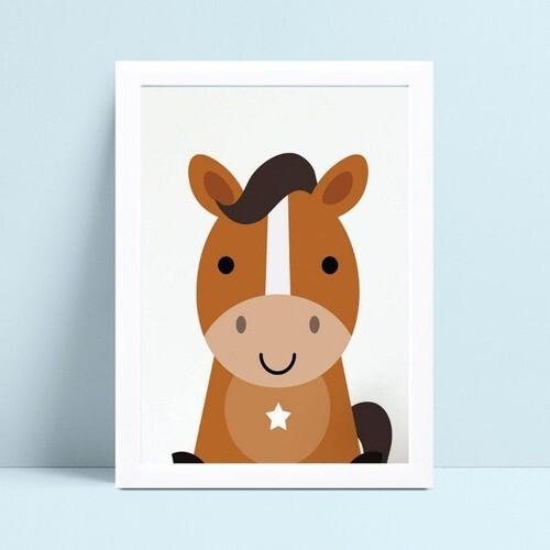 Quadro infantil decoração quarto filhote cavalo marrom