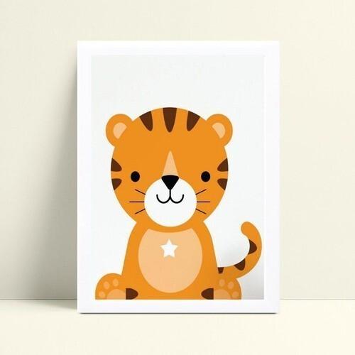Quadro infantil decoração quarto filhote tigre safári