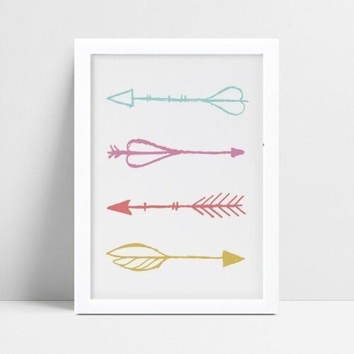 Quadro infantil decoração quarto flechas coloridas