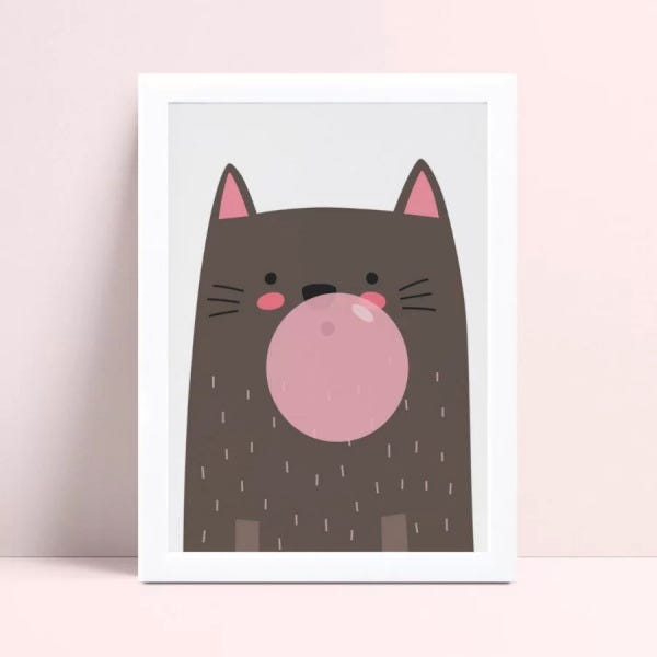 Quadro infantil decoração quarto gato bola chiclete rosa