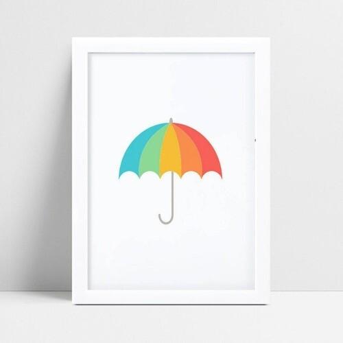 Quadro infantil decoração quarto guarda chuva colorido
