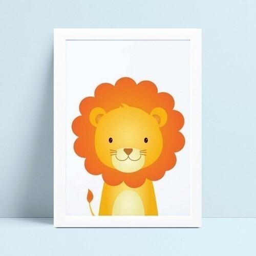 Quadro infantil decoração quarto leão
