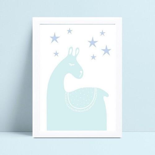Quadro infantil decoração quarto lhama animal azul estrelas