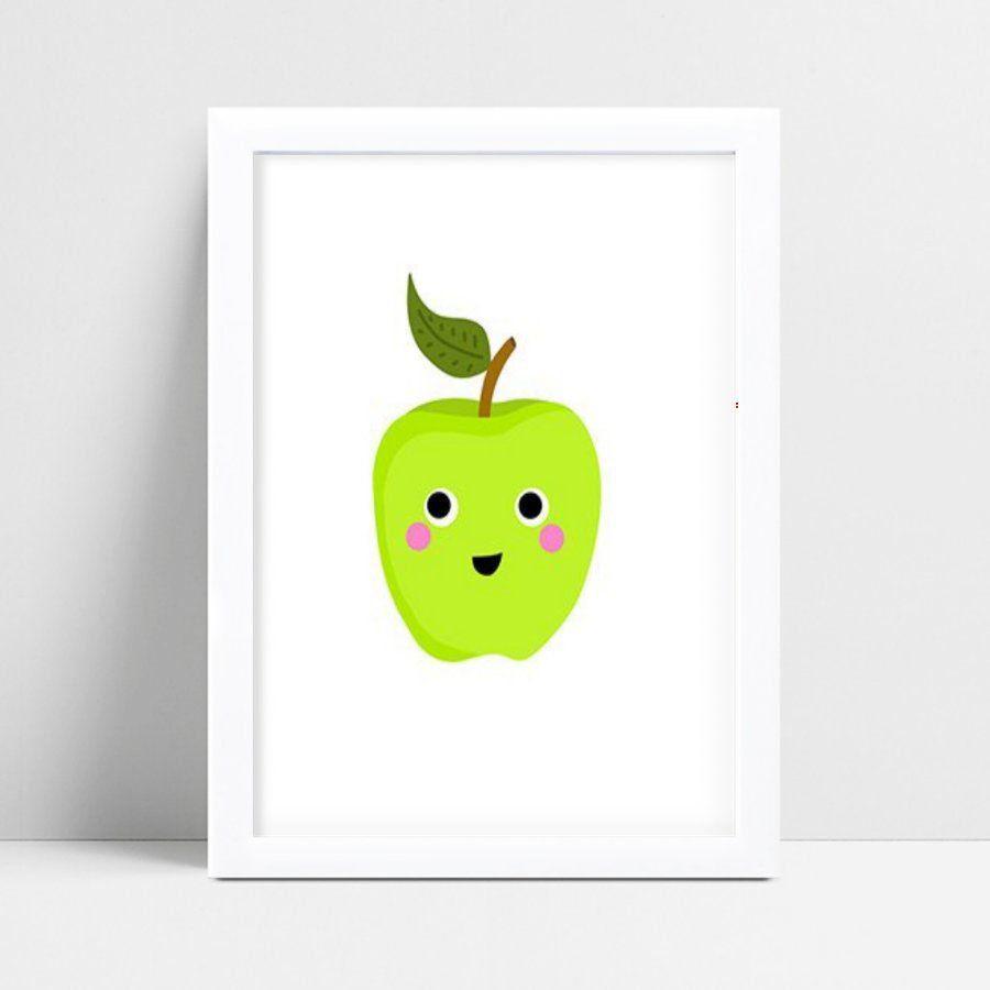 Quadro infantil decoração quarto maçã verde