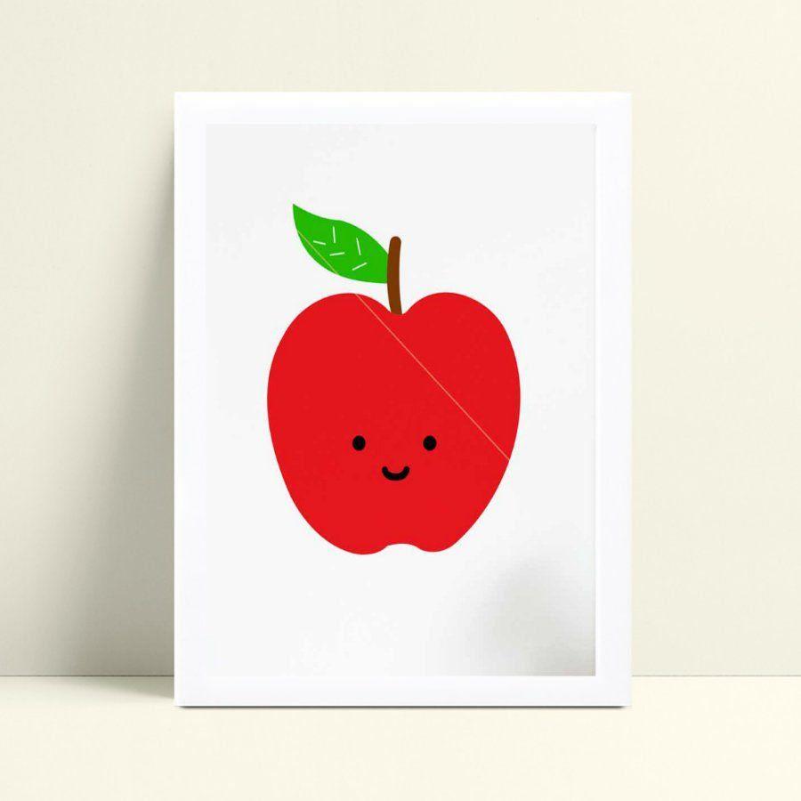 Quadro infantil decoração quarto maçã vermelha