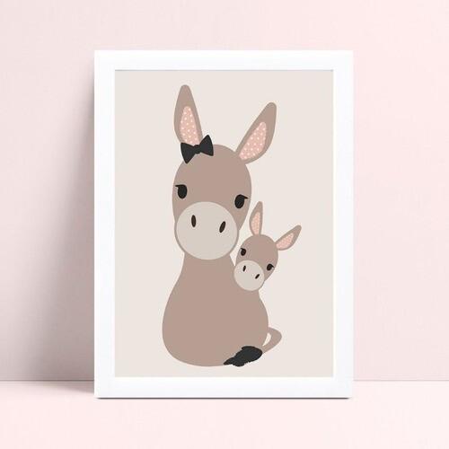 Quadro infantil decoração quarto mamãe & filhote burro