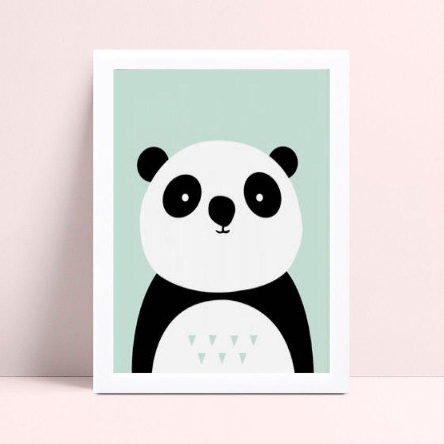 Quadro infantil decoração quarto menino panda animal