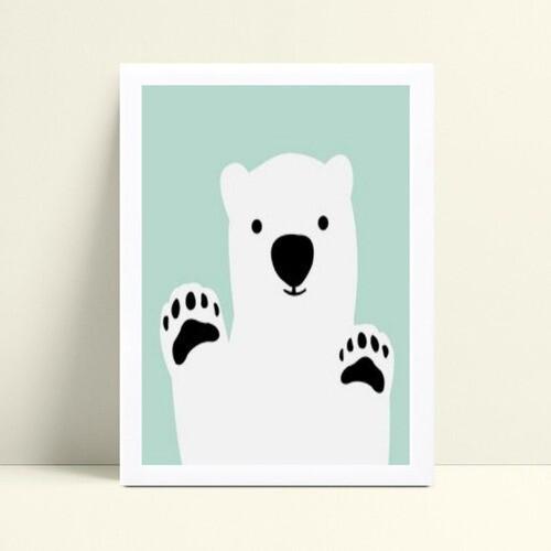 Quadro infantil decoração quarto menino urso branco
