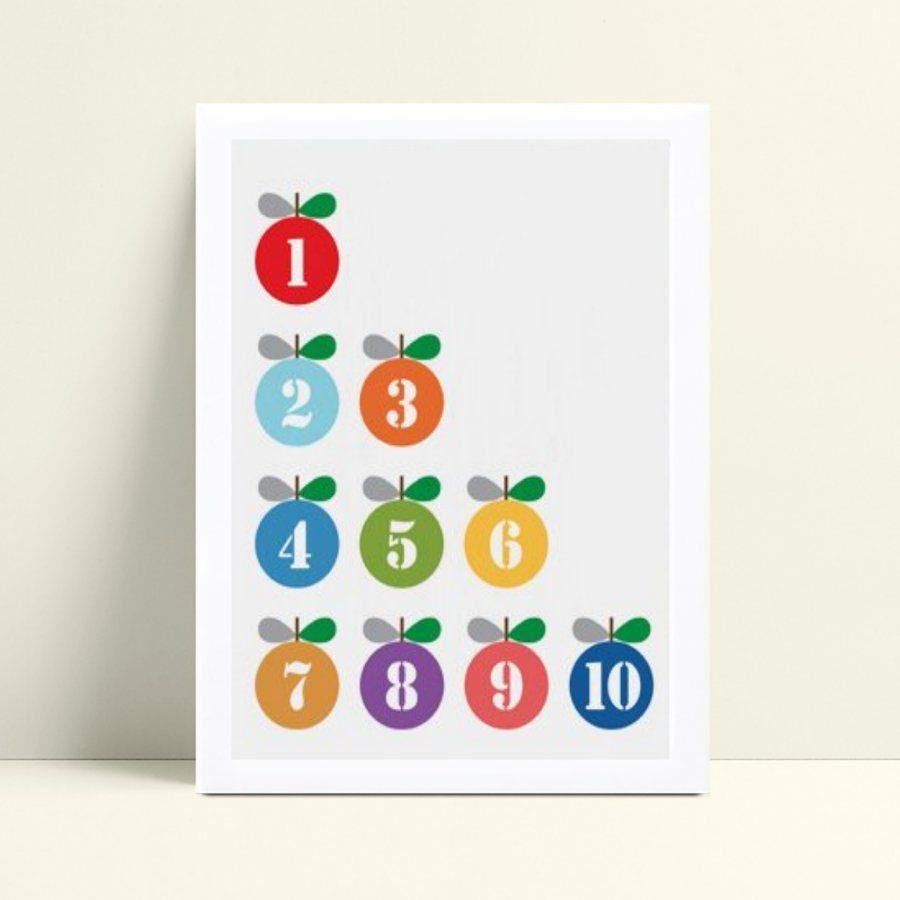Quadro infantil decoração quarto números frutas coloridos