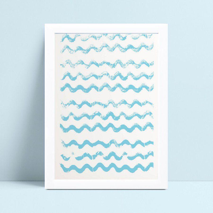 Quadro infantil decoração quarto ondas azul oceano mar
