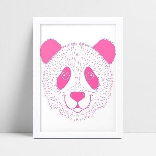 Quadro infantil decoração quarto panda rosa