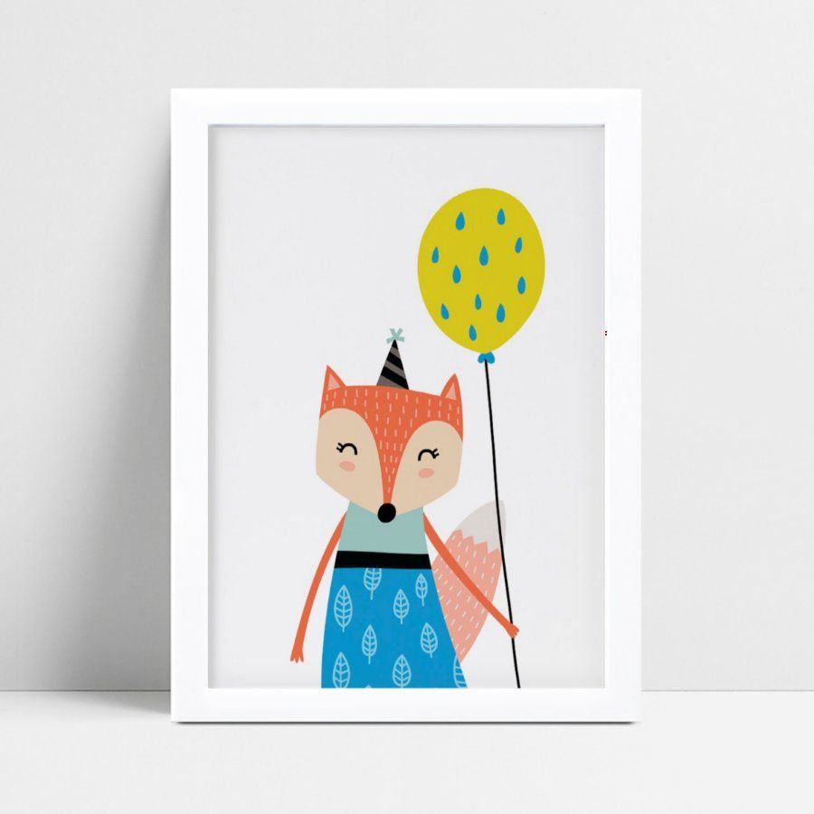 Quadro infantil decoração quarto raposa vestido azul