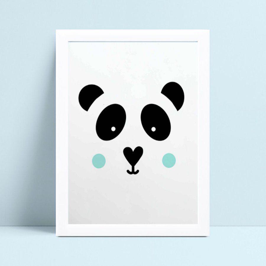 Quadro infantil decoração quarto rosto face panda