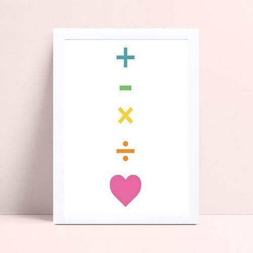 Quadro infantil decoração quarto sinais matemática coração