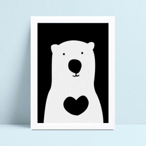 Quadro infantil decoração quarto urso branco
