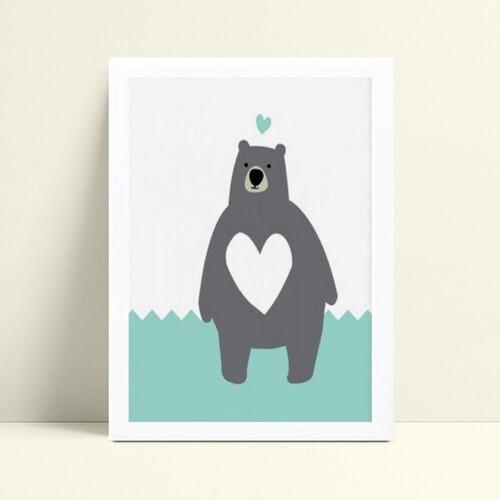 Quadro infantil decoração quarto urso cinza e azul
