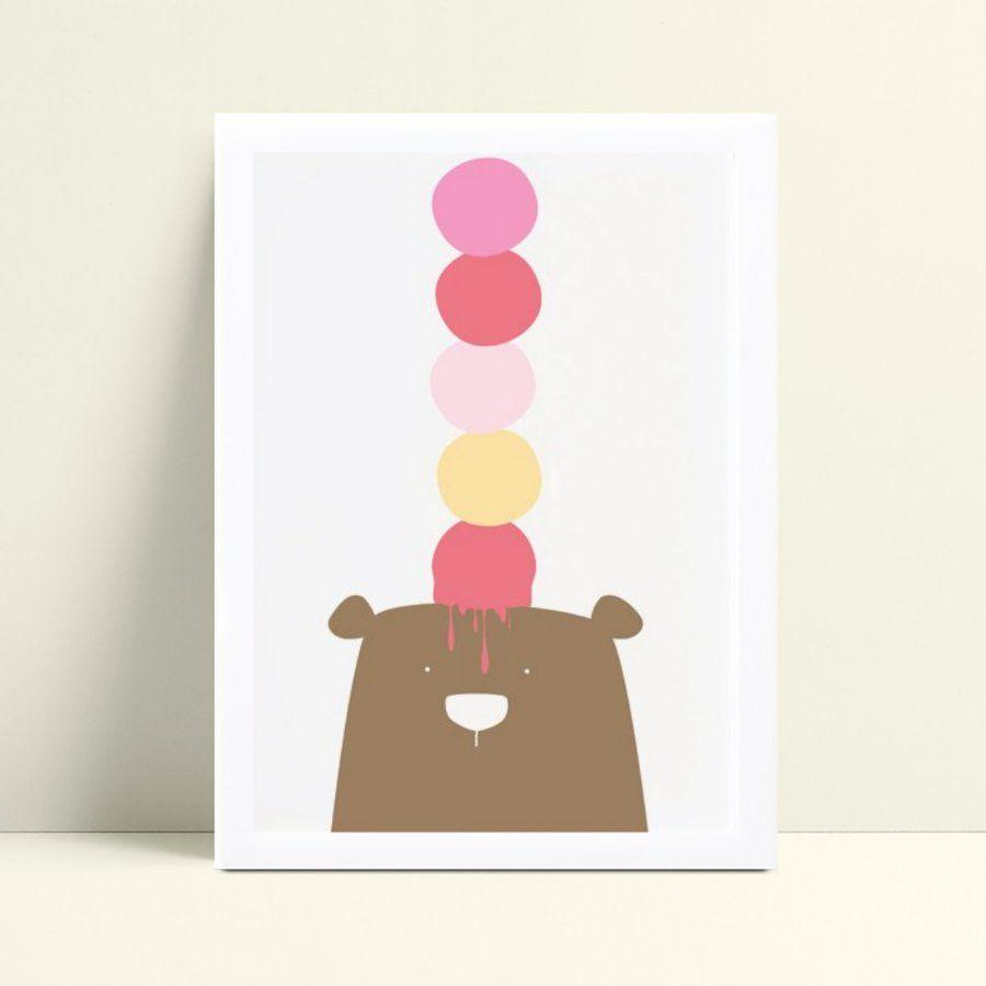 Quadro infantil decoração quarto urso com bolas de sorvete