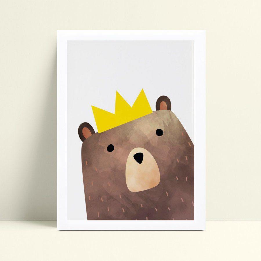 Quadro infantil decoração quarto urso coroa príncipe