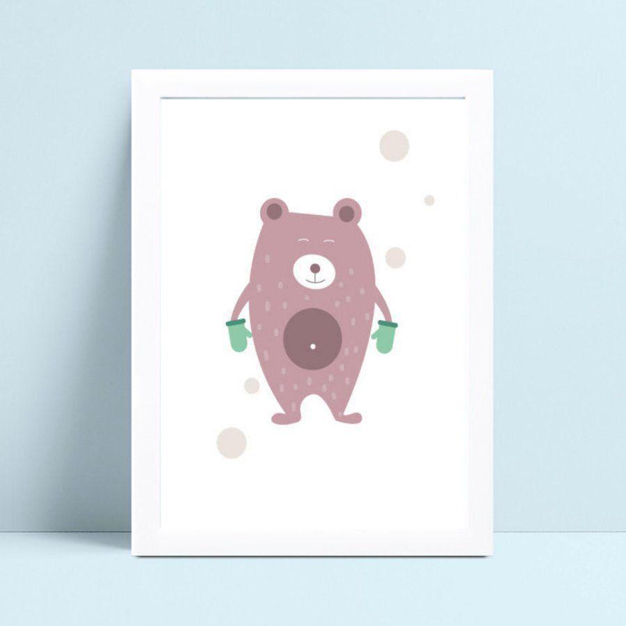 Quadro infantil decoração quarto urso marrom de luva verde