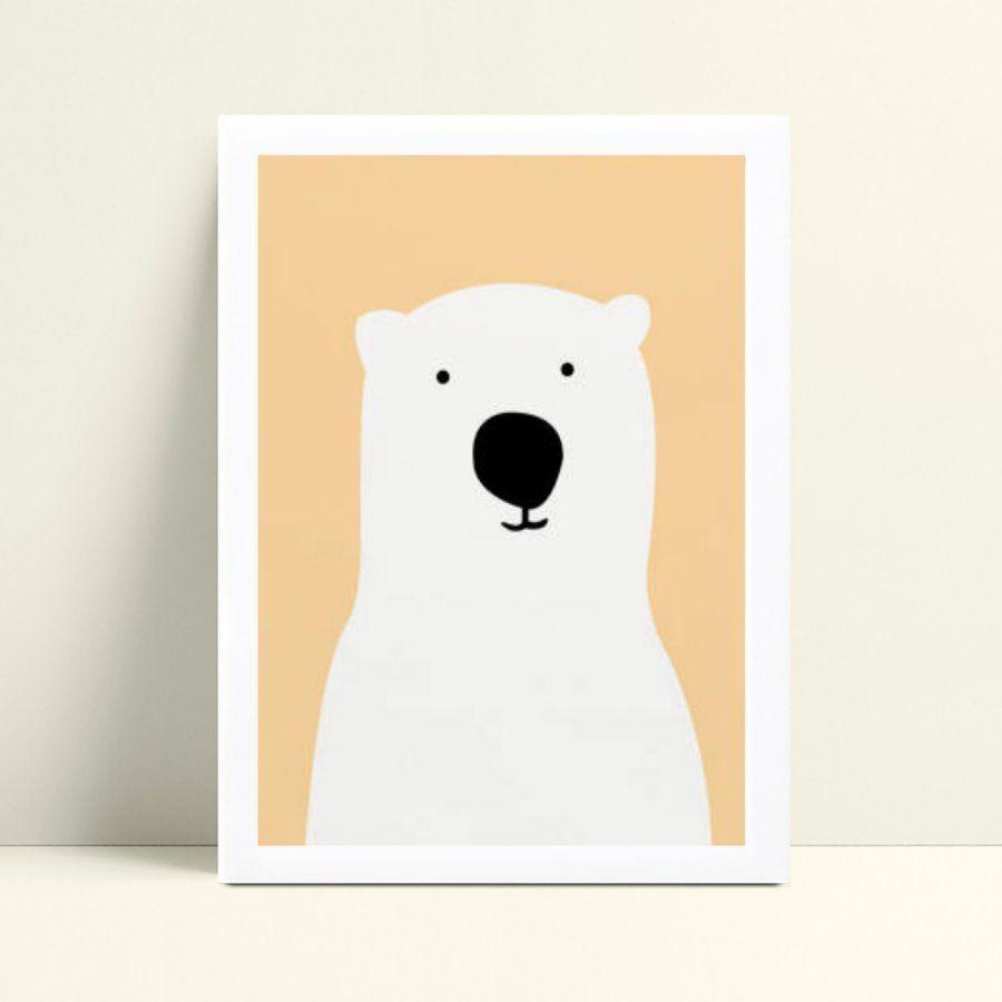 Quadro infantil decoração quarto urso polar branco e coral