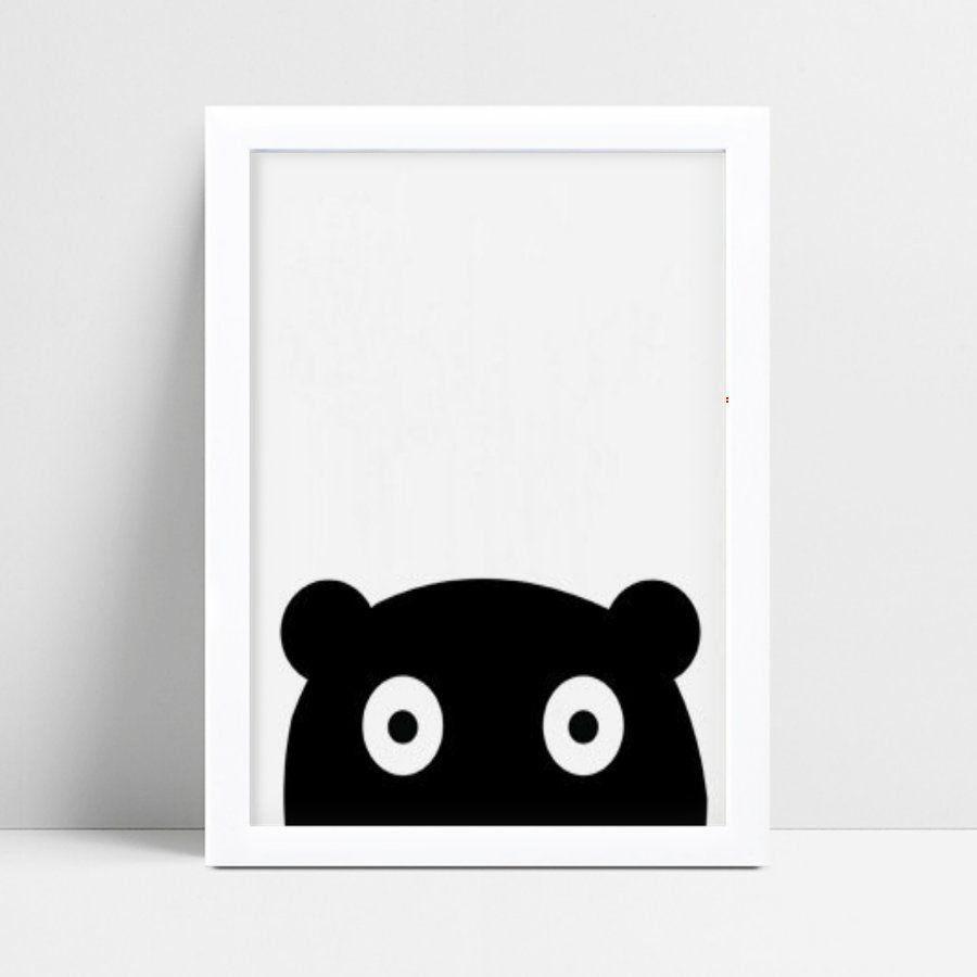 Quadro infantil decoração quarto urso preto espiando