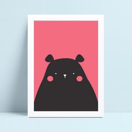 Quadro infantil decoração quarto urso rosa e preto