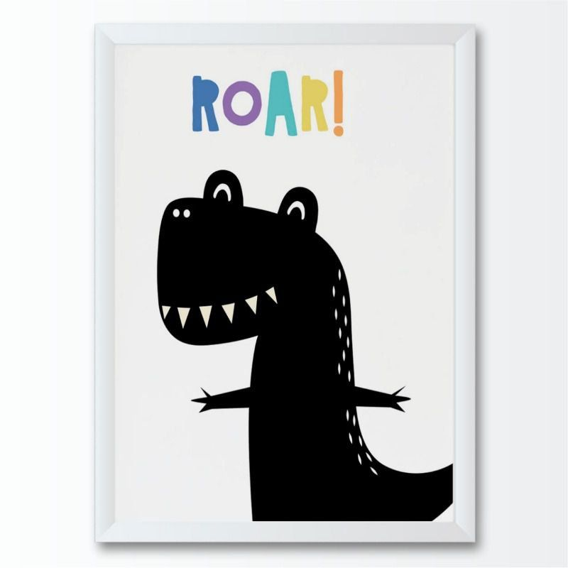 Quadro infantil desenho dinossauro preto