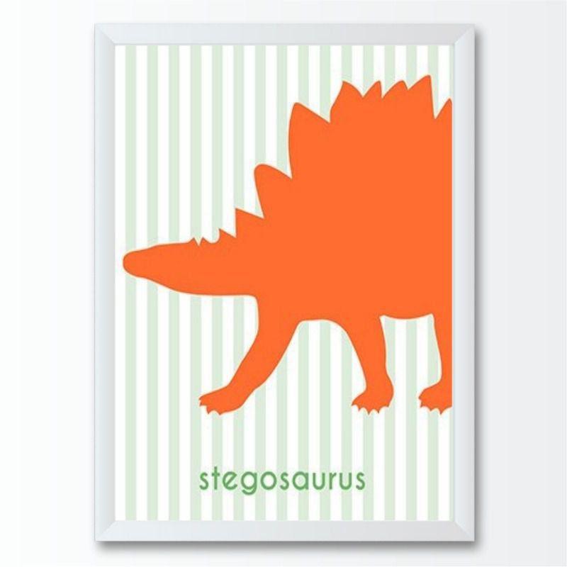 Quadro infantil dinossauro vermelho estegosaurus
