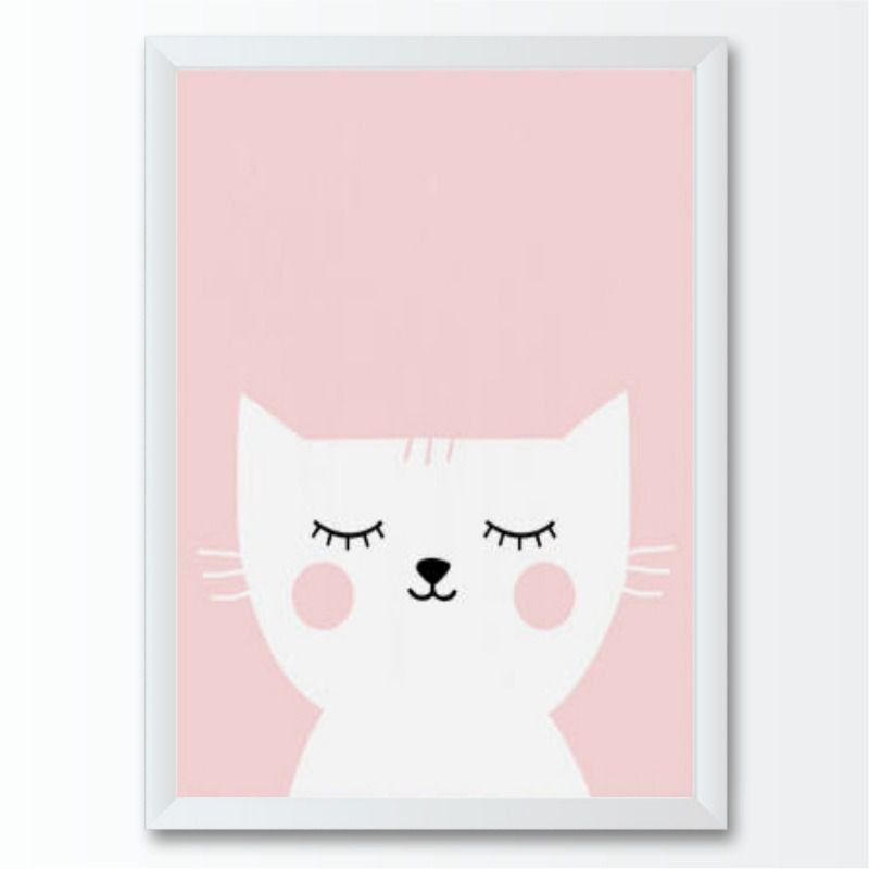 Quadro infantil gato branco e rosa