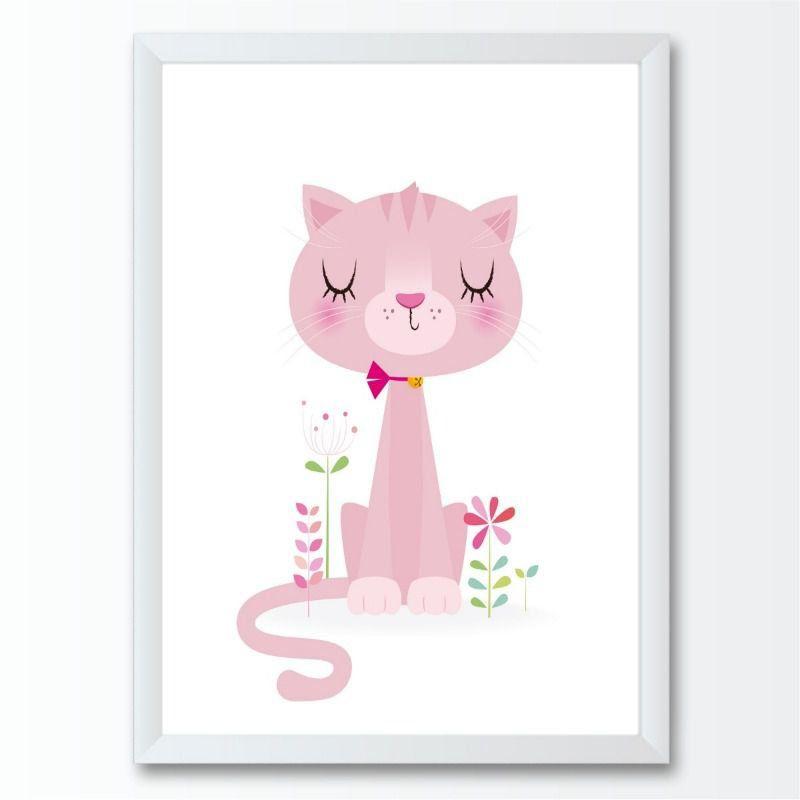 Quadro infantil gatos coloridos